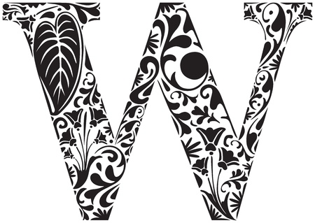 Floral initial capital letter W Illustration