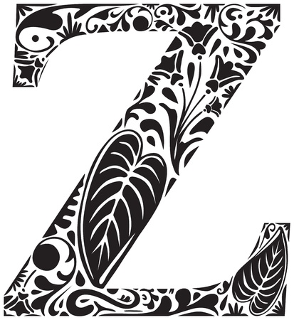 initial: Floral initial capital letter Z Illustration