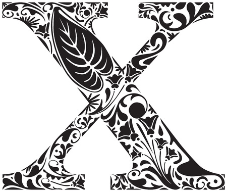 letter x: Floral initial capital letter X