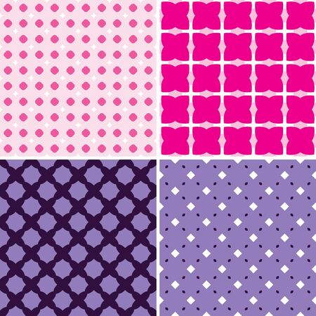 Set of four seamless patterns in pink and purple Vector