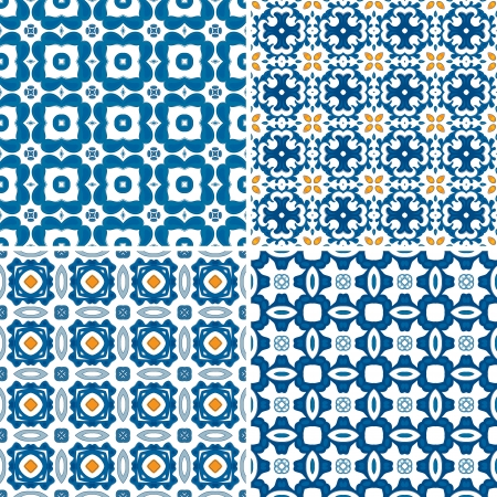 portuguese: Set of four seamless pattern illustrations in blue and orange - like Portuguese tiles