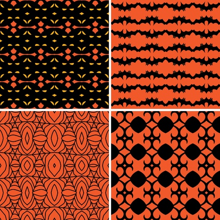 Set of four seamless patterns in black and orange Vector