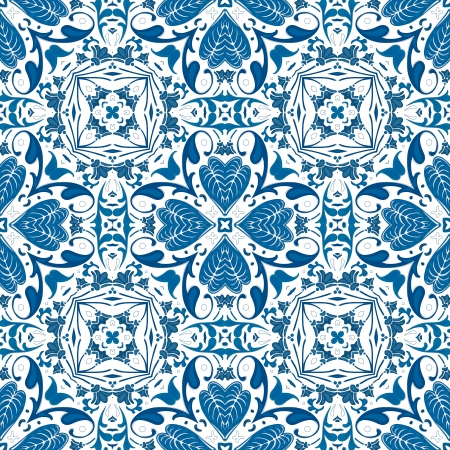 Seamless pattern illustration in blue - like Portuguese tiles