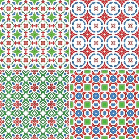 Set of four seamless patterns in red, green and blue Vector