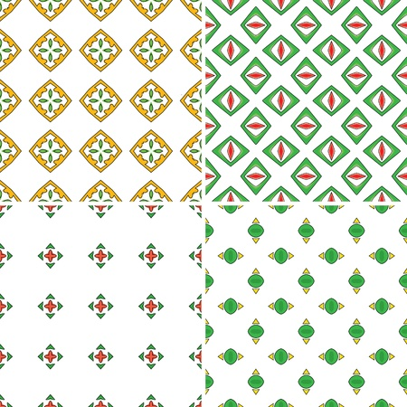 Set of four seamless patterns in red, green and yellow Vector