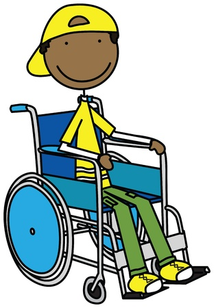 Illustration of a smiling boy sitting in a wheelchair