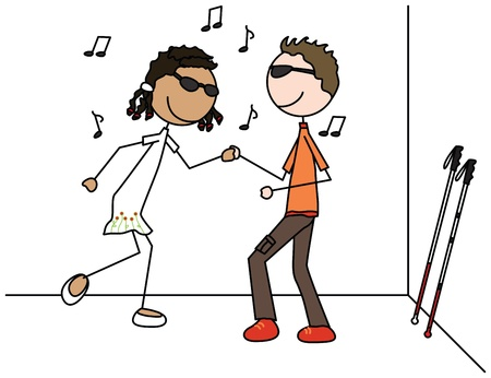 Illustration of two blind kids dancing Stock Vector - 22005818