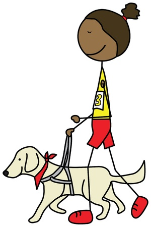 Illustration of a blind girl running with a guide dog Illustration