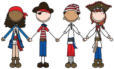 Illustratie van vier kinderen holding hands verkleed als piraten