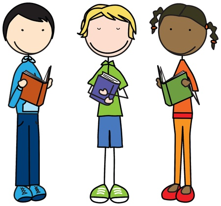 Illustration de trois enfants avec des livres