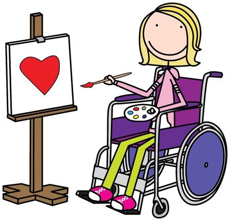 Ilustración de una niña sentada en una silla de ruedas y la pintura