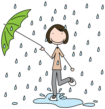 Illustration of a girl jumping in the puddle  Vector
