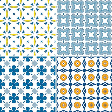Set of four seamless pattern illustration in blue, orange and yellow - like Portuguese tiles Stock Vector - 22600097