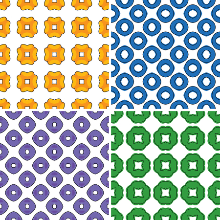 Set of four seamless patterns in bright colors Vector
