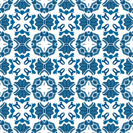 Seamless pattern in blue - like Portuguese tiles Stock Vector - 22600115