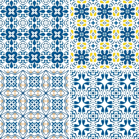 Set of four seamless pattern illustration in blue and yellow - like Portuguese tiles Vector