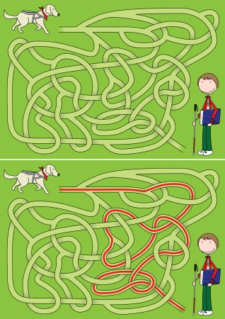 Guide dog maze for kids with a solution Vector