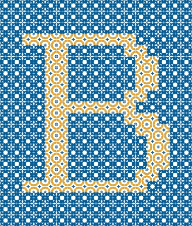 Capital letter B made of Portuguese tiles Vector