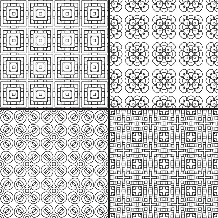 illustion: Set of four seamless patterns in black and white