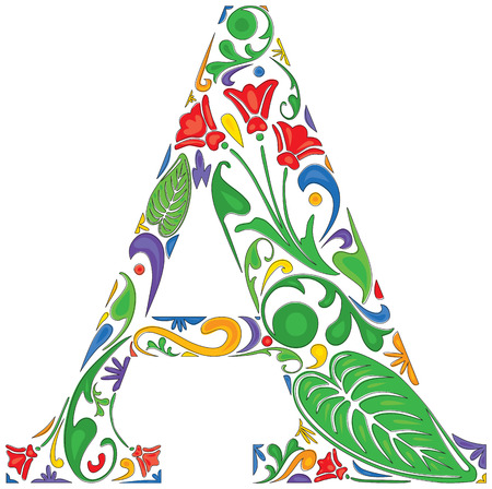 initial: Colorful floral initial capital letter A  Illustration