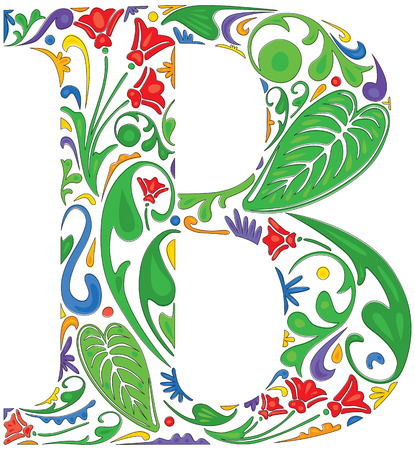 Colorful floral initial capital letter B
