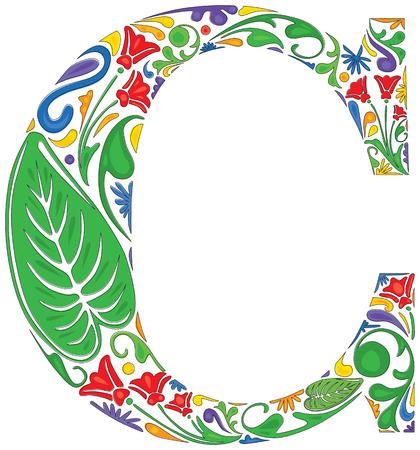 initial: Colorful floral iniziale maiuscola C Vettoriali