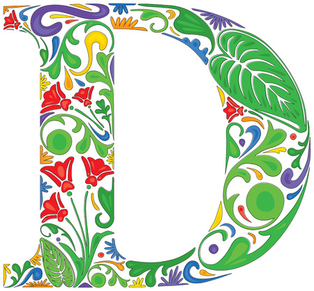 initial: Colorful floral initial capital letter D