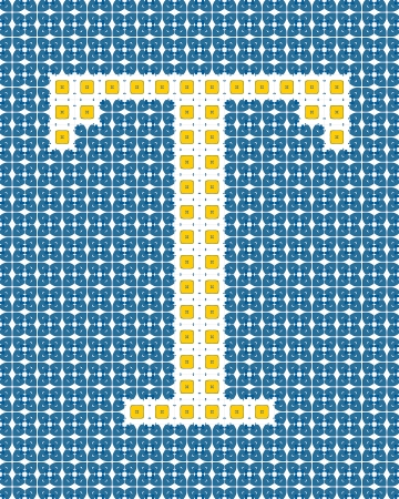t square: Capital letter T made of Portuguese tiles