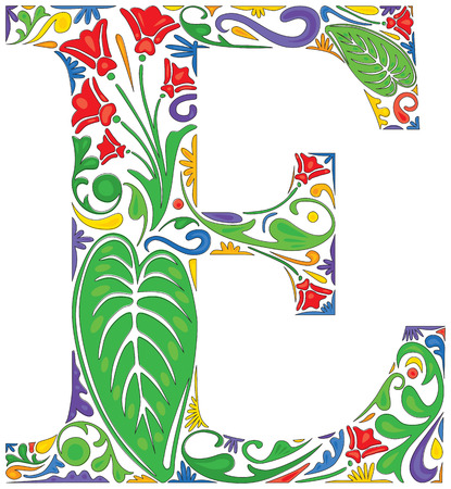 initial: Colorful floral initial capital letter E