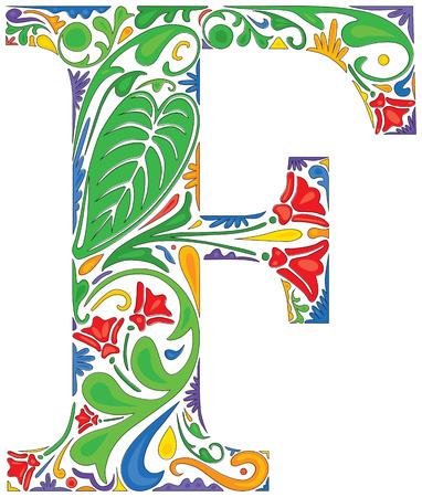 initial: Colorful floral initial capital letter F