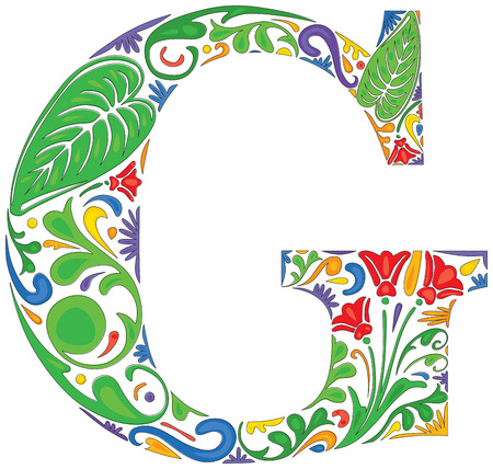 initial: Colorful floral initial capital letter G