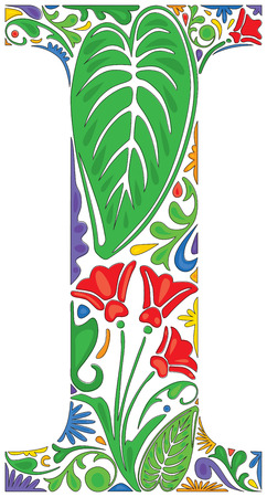 initial: Colorful floral initial capital letter I