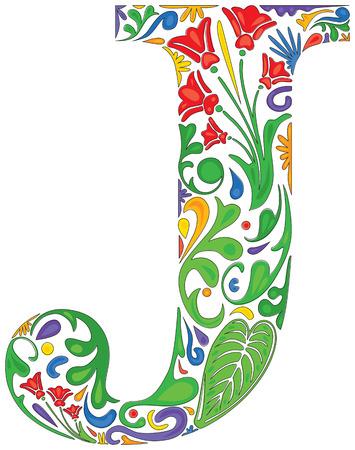 Lettre colorée de capital initial floral J