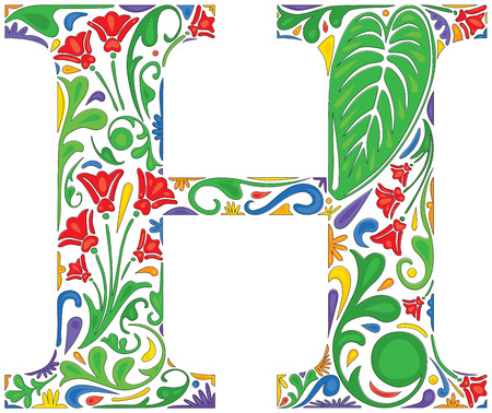 initial: Colorful floral initial capital letter H