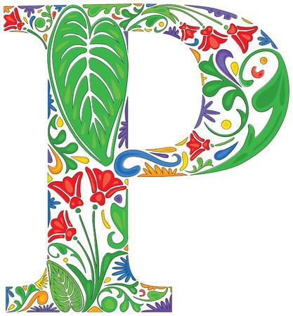 carta: Colorido floral letra mayúscula inicial P