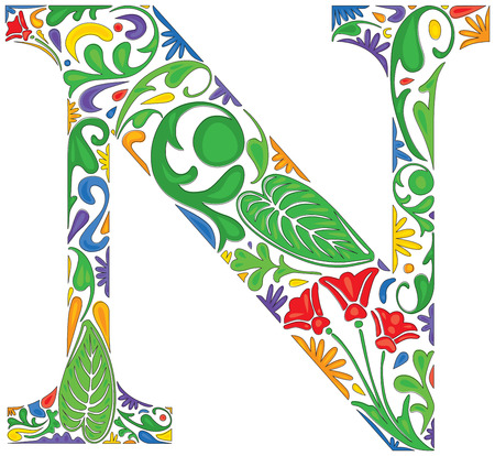 Colorful floral initial capital letter N