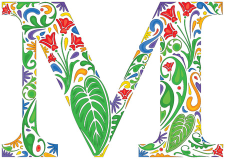 initial: Colorful floral initial capital letter M