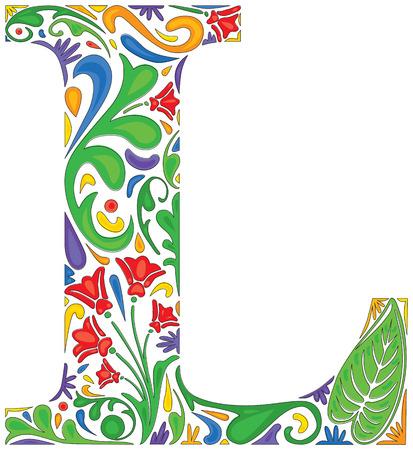 initial: Colorful floral iniziale maiuscola L Vettoriali