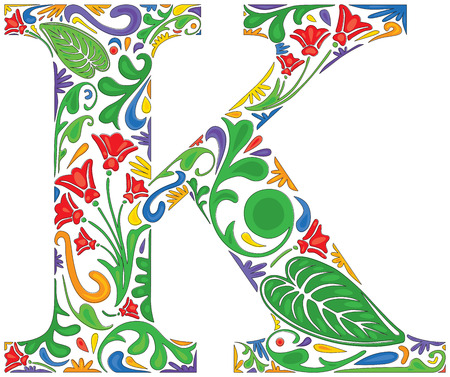 initial: Colorful floral initial capital letter K