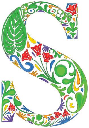 initial: Colorful floral iniziale maiuscola S Vettoriali