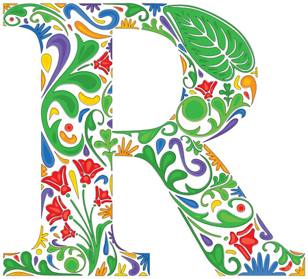 initial: Colorful floral initial capital letter R Illustration