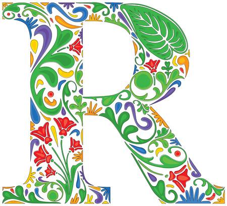 decoratif: Colorful floral initiale majuscule R Illustration