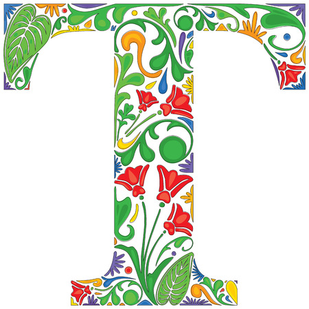 Colorful floral initial capital letter T Çizim