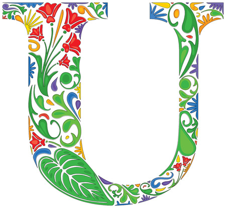 initial: Colorful floral initial capital letter U