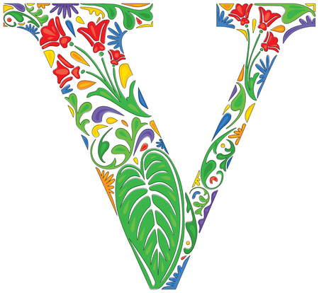 initial: Colorful floral initial capital letter V Illustration