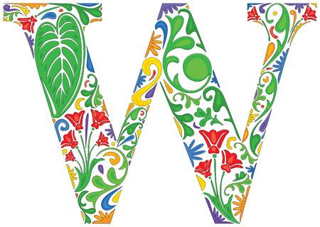floral alphabet: Colorful floral initial capital letter W Illustration