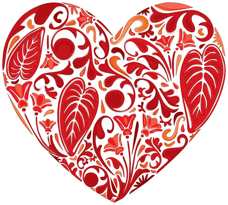 heart shaped leaves: Illustrated red heart made of floral elements