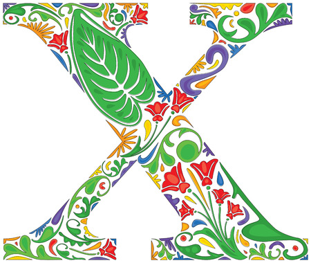 initial: Colorful floral initial capital letter X Illustration