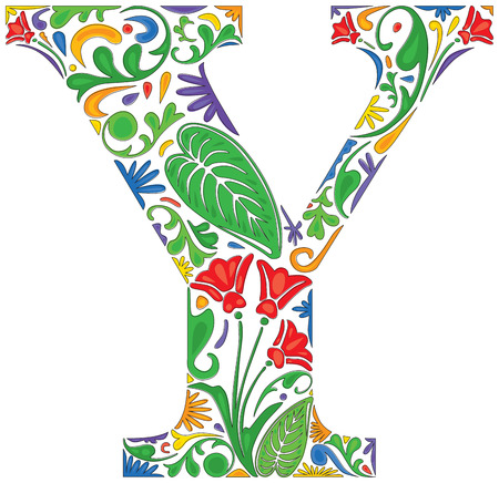 initial: Colorful floral initial capital letter Y