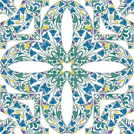 Seamless pattern made of illustrated floral elements - like Portuguese tiles